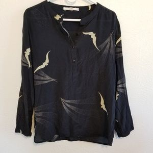 Anthropologie Burning Torch 100% Silk Blouse